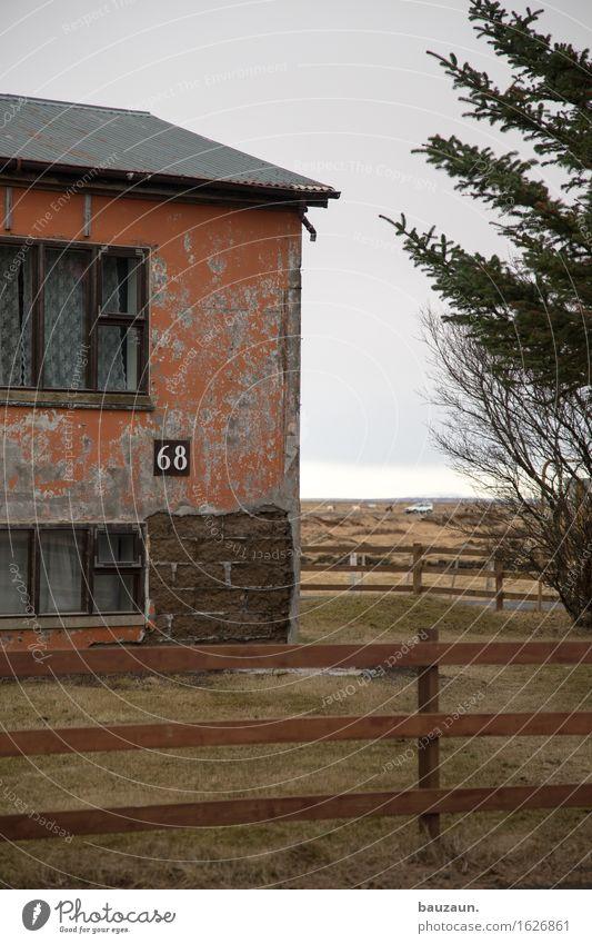 68. haus. Häusliches Leben Wohnung Haus Gartenarbeit Handwerk Baustelle Umwelt Natur Wolken Baum Gras Island Einfamilienhaus Ruine Mauer Wand Fassade Fenster