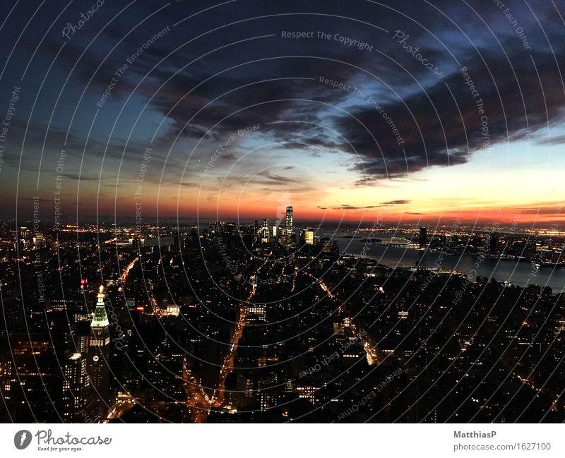 New York City / Manhatten Sonnenuntergang Himmel Landschaft Architektur Lifestyle Gebäude Wachstum Hochhaus authentisch Erfolg USA genießen Lebensfreude Amerika