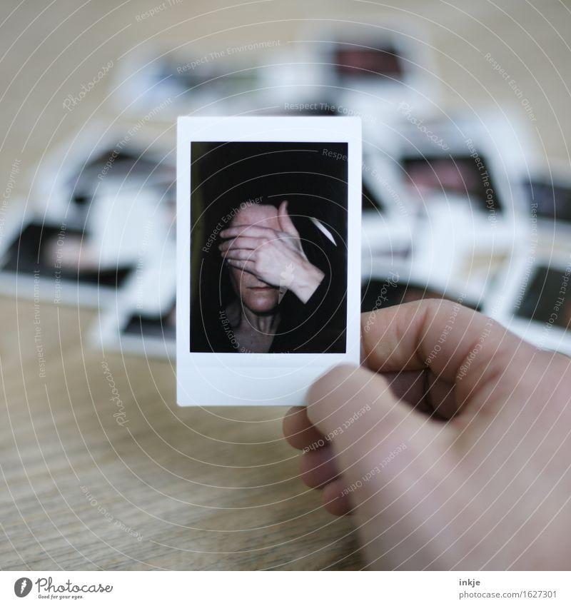 ...... ! Lifestyle Stil Frau Erwachsene Leben Gesicht Hand 1 Mensch Sammlung Polaroid Fotografie außergewöhnlich Gefühle Stimmung Sorge Scham Reue Hemmung
