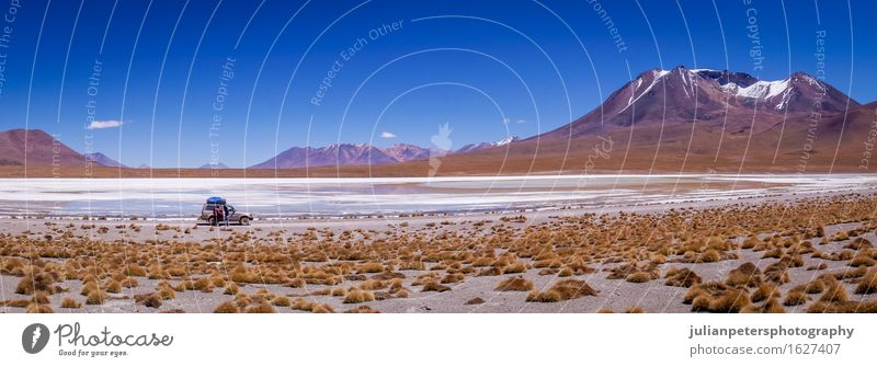 Jeepfahren in Altiplano, Bolivien Tourismus Abenteuer Sonne Menschengruppe Umwelt Natur Landschaft Erde Sand Wasser Himmel Schönes Wetter Gletscher Vulkan