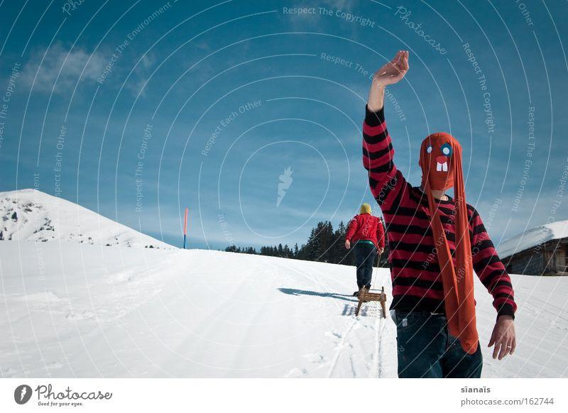 Buenos Eires! Ostern Osterhase Maske verkleiden Hase & Kaninchen Strumpfhose Comic lustig Gruß Alpen verrückt Schnee Himmel Berge u. Gebirge Schlitten winken