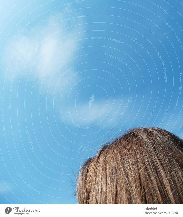 nachgedacht Himmel blau Sommer Wolken Wärme Denken Haare & Frisuren oben hell Kopf glänzend träumen Luft Nebel Schönes Wetter Rauch