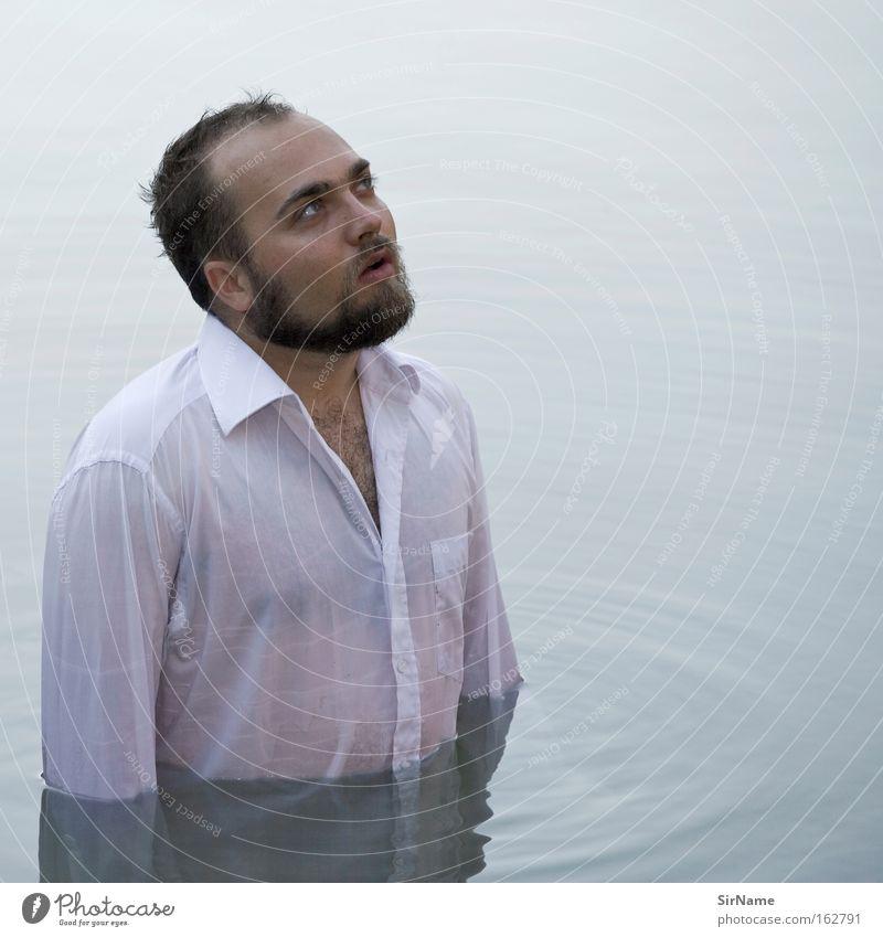 77 [Erhoffnung] Mann Wasser Erwachsene Religion & Glaube Zufriedenheit warten nass Reinigen Hoffnung rein Vertrauen Erwartung Reinheit Taufe