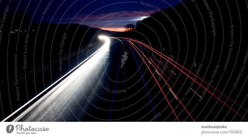 licht nacht Himmel Straße Schilder & Markierungen Horizont Verkehr Licht Güterverkehr & Logistik Autobahn Nacht Scheinwerfer Belichtung Heckleuchte
