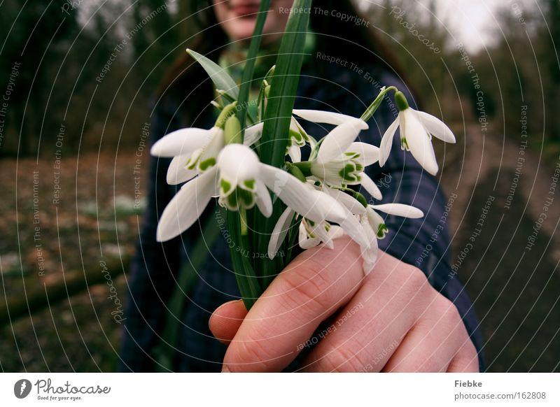 Für dich :) Frau Natur grün Pflanze Blume Freude Frühling lachen Geschenk Wunsch Lächeln Blumenstrauß danke schön Glückwünsche Schneeglöckchen Entschuldigung