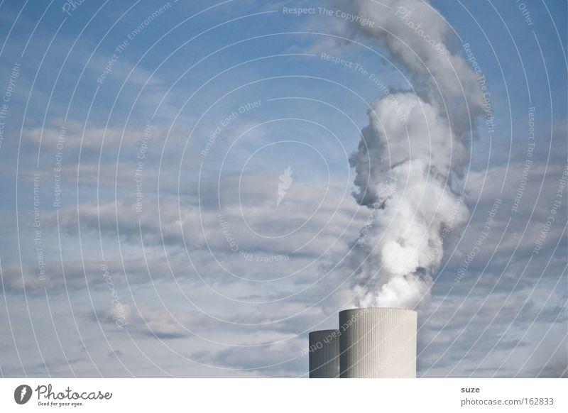 Rauchzeichen Fabrik Industriefotografie Arbeit & Erwerbstätigkeit Design grau Metall Himmel Schornstein Abgas Smog Umwelt Schadstoff Luft Luftverschmutzung