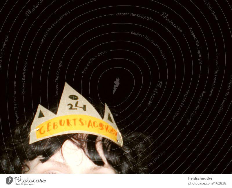 Geburtstagskind Freude schwarz gelb dunkel Kopf Haare & Frisuren Party lustig Feste & Feiern Geburtstag Ziffern & Zahlen Jubiläum Hut Locken Karton Momentaufnahme