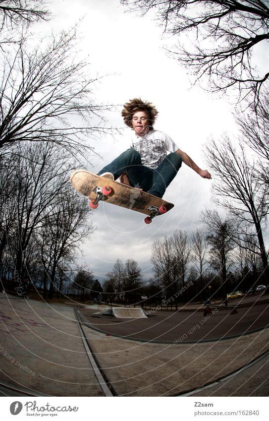 saisonstart Skateboarding Aktion springen Park Sport Baum Natur Freestyle Stil Mensch Funsport fliegen Holzbrett Air Trick Jump