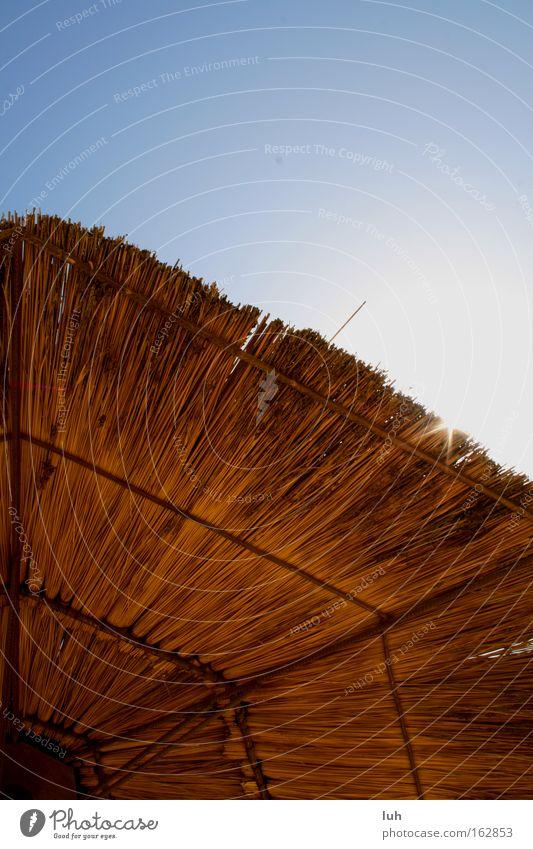 afrikanische Sonne Ferien & Urlaub & Reisen Sommer Sonnenbad Himmel Dach Regenschirm braun Sonnenschirm Schirm Bast Stroh Afrika blau wolkenlos Sonnenstrahlen