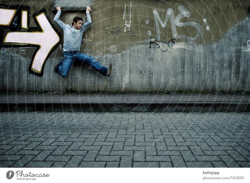 los gehts Mensch Mann Graffiti springen Kraft Politik & Staat Erfolg Laufsport Politische Bewegungen Grafik u. Illustration stark rennen Rennsport