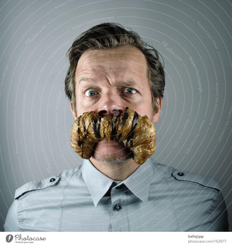 k. das brot Mensch Mann Porträt Ernährung Hemd Bart Frühstück Comic Humor Backwaren Witz Croissant Behaarung
