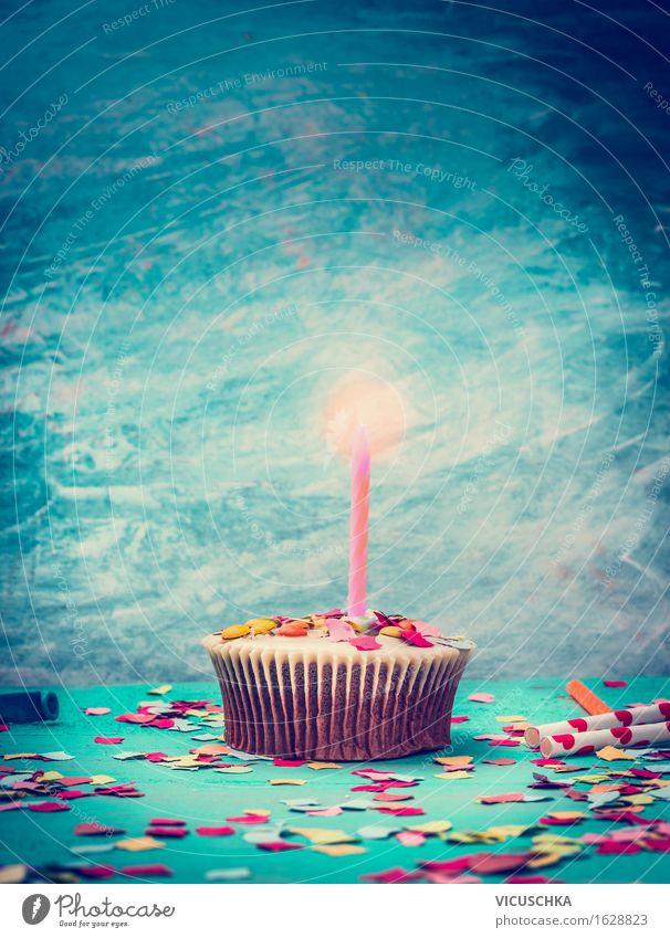 Cupcake mit Kerze zum Geburtstag Kuchen Dessert Ernährung Stil Design Party Feste & Feiern retro Muffin Geschenk Konfetti Dekoration & Verzierung türkis