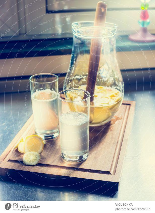 Frische selbst gemachte Limonade mit Küche Hintergrund Sommer Wasser Gesunde Ernährung gelb Leben Innenarchitektur Stil Lifestyle Lebensmittel Design Wohnung