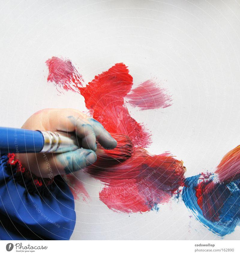 red elk, a work in progress Kind Hand Farbe Baby Kunst Papier lernen Kreativität Kleinkind Mensch Pinsel Maler Kunsthandwerk