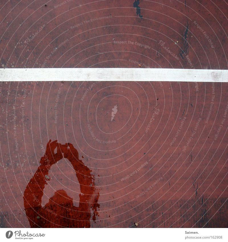 im Bilde Detailaufnahme Strukturen & Formen Schatten Ballsport Linie Ordnung Trennung Tennisplatz Teilung geteilt Selbstportrait deutlich