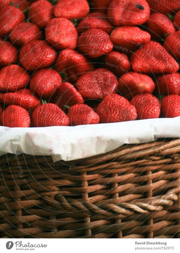 Frisch geerntet Pflanze rot Farbe Frucht Lebensmittel Ernährung süß Ernte lecker Bioprodukte Beeren Bildausschnitt Korb Anschnitt saftig Erdbeeren