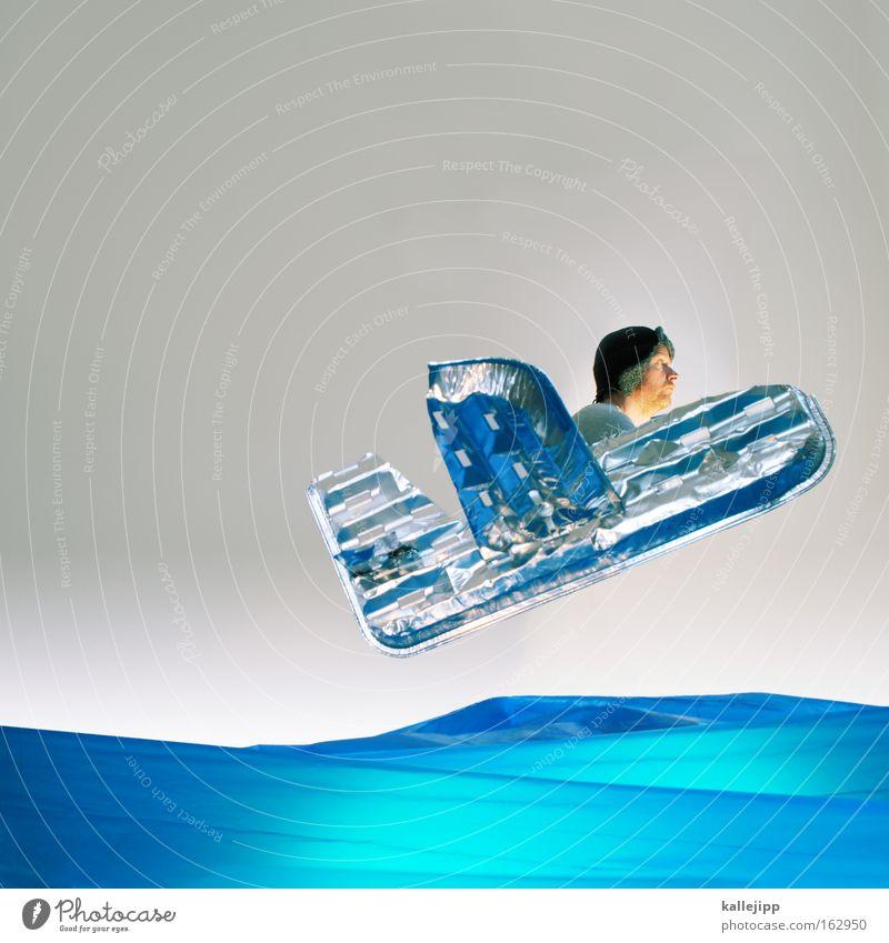 notwasserung Mensch Mann Wasser Meer Flugzeug Literatur Luftverkehr Fluggerät Abenteuer Kultur obskur Comic Aluminium gestellt Atlantik künstlich