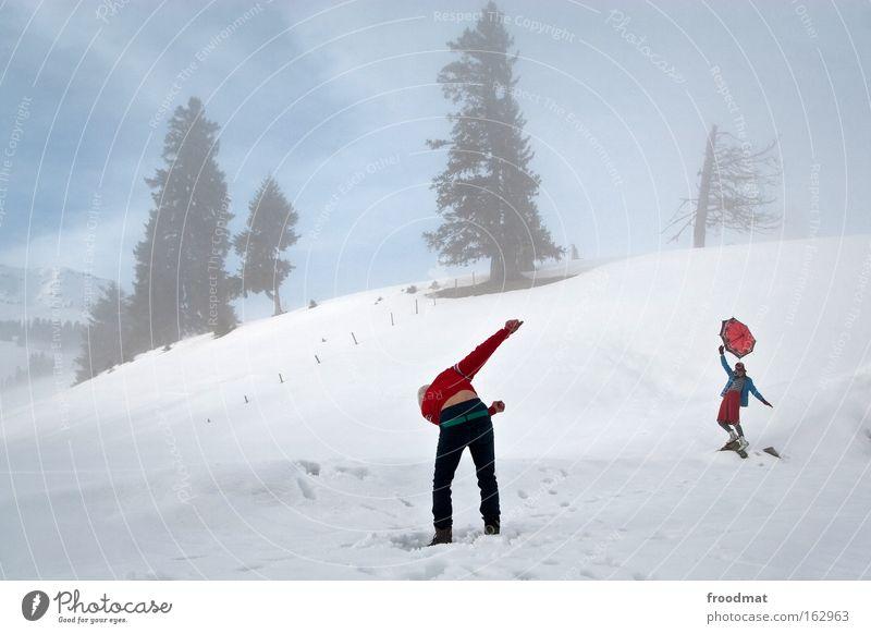 dirty dancing Frau Himmel Baum Winter kalt Schnee Berge u. Gebirge Tanzen Zufriedenheit Nebel trist Schweiz Regenschirm Sturm Surrealismus Mensch