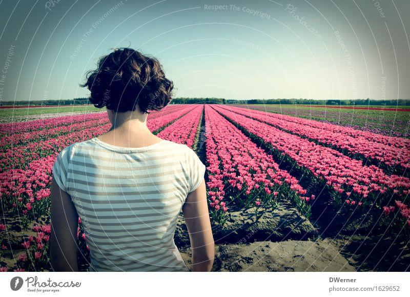 Frau Antje aus Holland I Körper feminin Junge Frau Jugendliche 1 Mensch 18-30 Jahre Erwachsene Natur Pflanze Himmel Frühling Schönes Wetter Blume Tulpe Garten