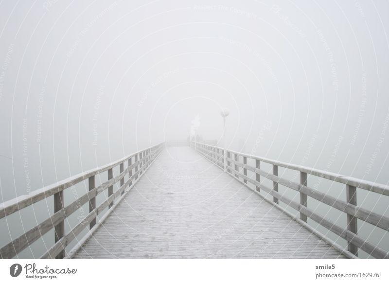 Steg im Nebel kalt Wasser Meer Küste Einsamkeit ruhig Ferne Hoffnung Winter ungewiss nachdenklich Zukunft weiß Holz Vergänglichkeit