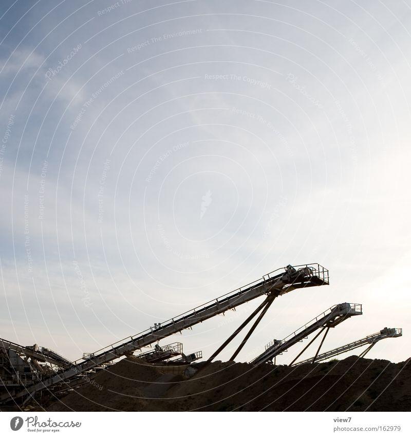 Produktion Sand Kies Förderband Kiesgrube Industriefotografie 3 Haufen Baustelle Erdhöhle schätzen Schutz fördern Bewegung Ladung Ladengeschäft laden Bagger