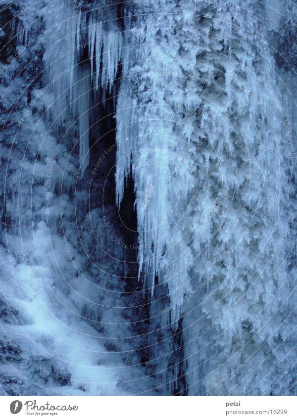 Eisfall Winter Frost Wasserfall kalt blau weiß gefroren Eiszapfen Glätte Eiswand Farbfoto Außenaufnahme Tag bizarr Naturphänomene erstarren