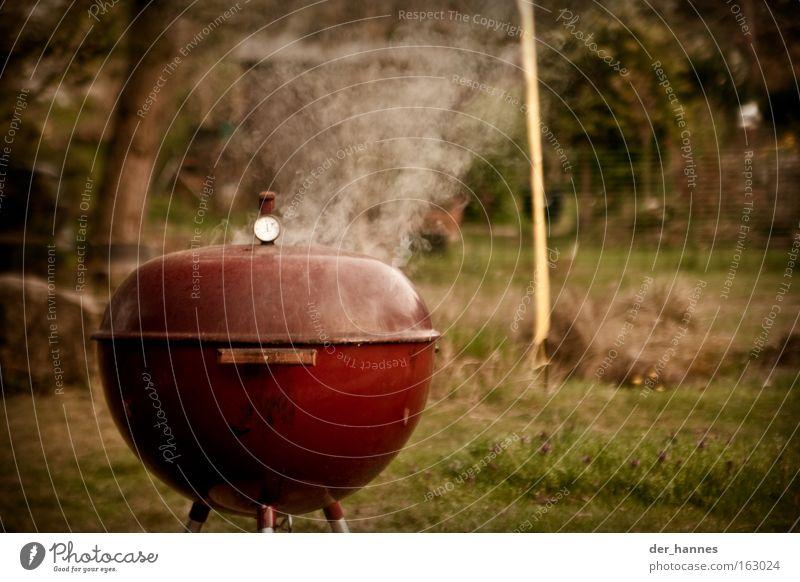 Rauchender roter Kugelgrill rot Sommer dunkel Garten Wärme Kraft Gastronomie Rauch Grillen Fleisch Tiefenschärfe Grill matt Vignettierung Kochen & Garen & Backen Grillsaison