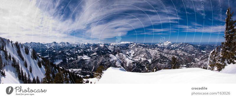 Snowboarders Paradise II Himmel Baum Wolken Schnee Berge u. Gebirge groß Alpen Aussicht Wald Baumkrone Panorama (Bildformat) Österreich Tal Wäldchen