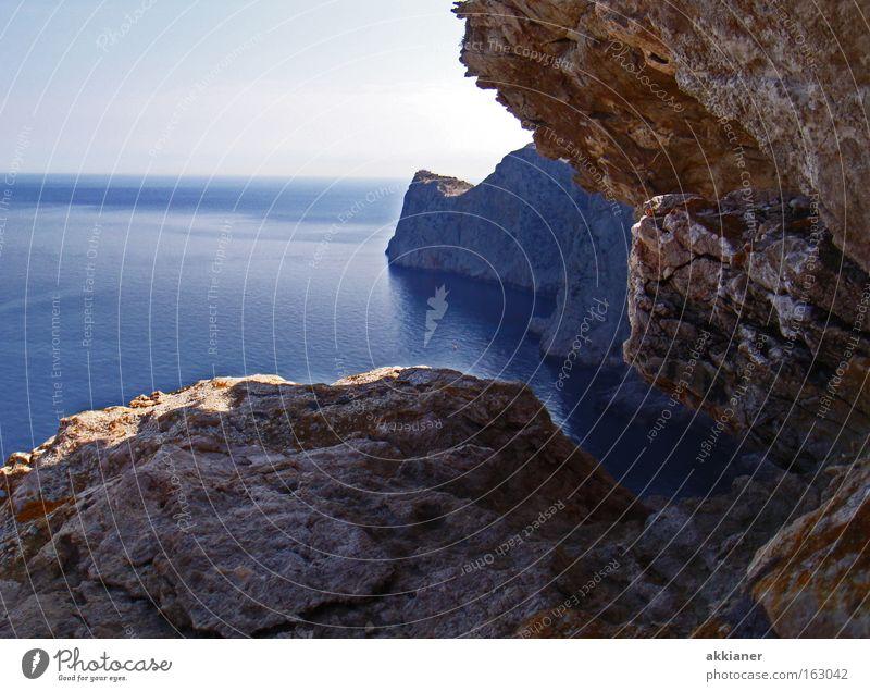 Kap Formentor Ferien & Urlaub & Reisen Wasser Meer Berge u. Gebirge Küste Horizont Aussicht Spanien Klettern Mallorca Mittelmeer Klippe Meerwasser