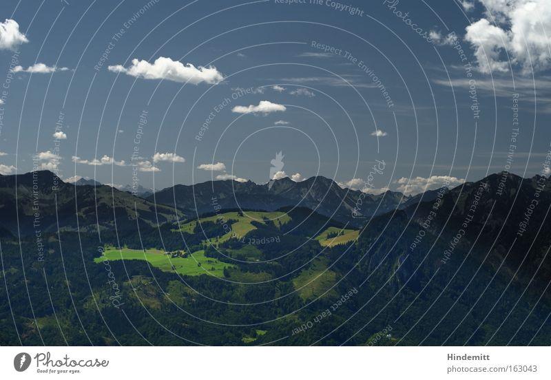 Letztes Jahr, im Sommer, in den Alpen ... Himmel Chiemgau Wolken Kraft Alm hoch blau weiß erhaben überblicken Aussicht Gipfel Berge u. Gebirge ruhig Freude