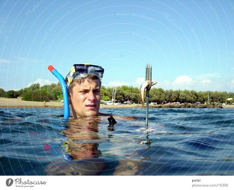 Ich hab ihn... Meer Strand Sport Fisch gefangen Griechenland Schnorcheln Taucherbrille Wurfspieß Dreizack