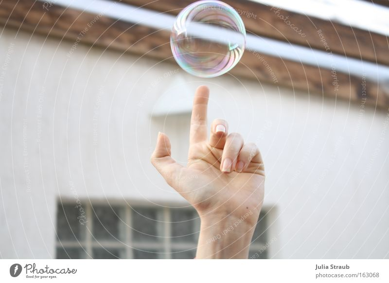 oh, schau mal Freude Ball Hand Finger Holz Kugel rund Seifenblase Klarheit Zauberei u. Magie Wasserwirbel Farbfoto Außenaufnahme Tag Reflexion & Spiegelung