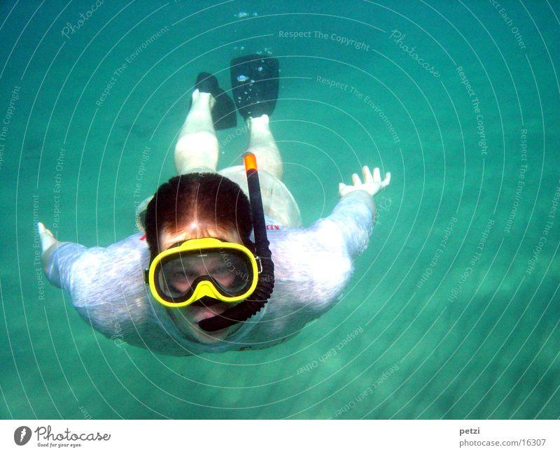Schnorcheln ist schön Meer Sport Sand Luftblase Griechenland Schwimmhilfe Taucherbrille Tauchgerät Meeresboden