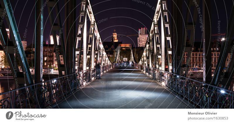 Road to Dribbdebach, Eiserner Steg, Frankfurt, Germany, 2016 Stadt Brücke Bauwerk Stahl historisch Frankfurt am Main Nachtaufnahme Langzeitbelichtung Bridge