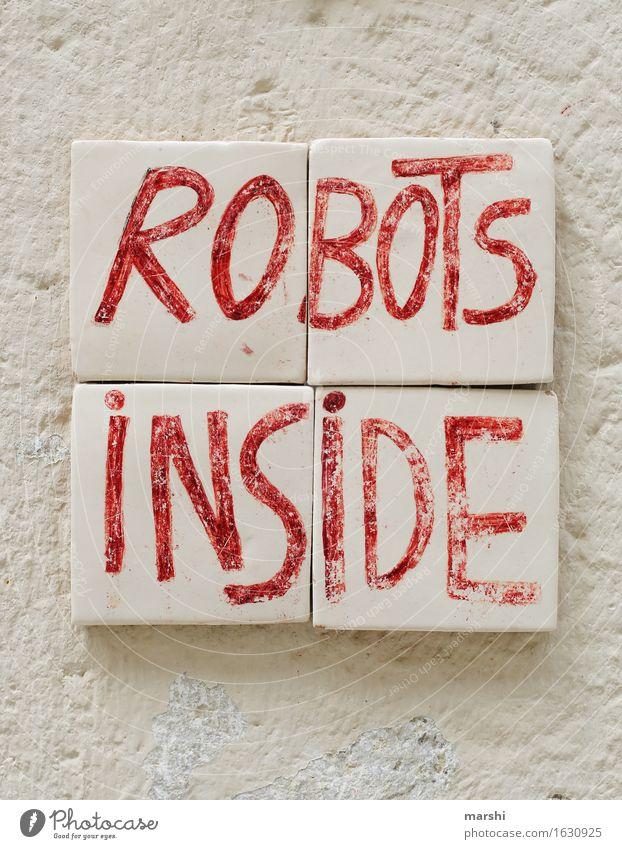 robots inside Haus Mauer Wand Fassade Stimmung Roboter Fliesen u. Kacheln Lissabon Reisefotografie weiß rot lustig Farbfoto Außenaufnahme Nahaufnahme
