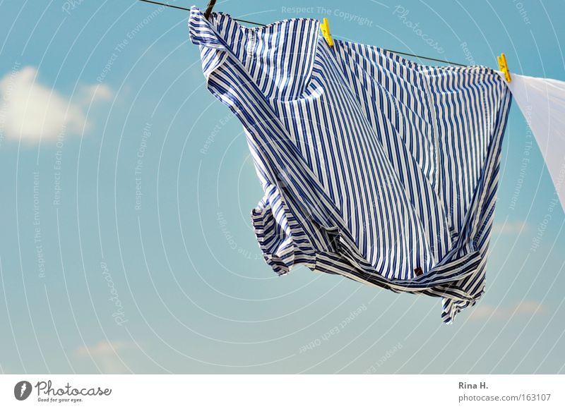 Gestreiftes Hemd auf Wäscheleine schön Himmel weiß blau Sommer Freude Wolken gelb Glück Zufriedenheit Wind Bekleidung frisch Sauberkeit rein Streifen