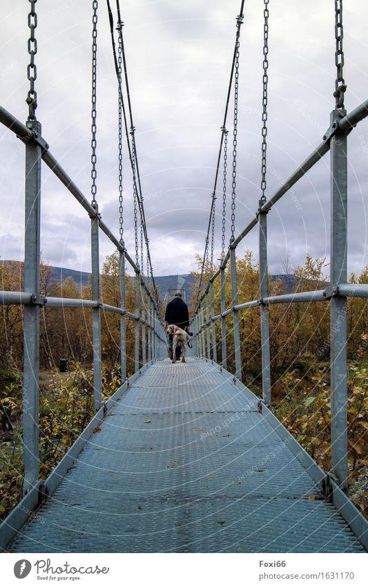 der Weg ist das Ziel maskulin Mann Erwachsene Freundschaft Leben 1 Mensch Landschaft Wolken Herbst Klimawandel schlechtes Wetter Pflanze Sträucher Wildpflanze