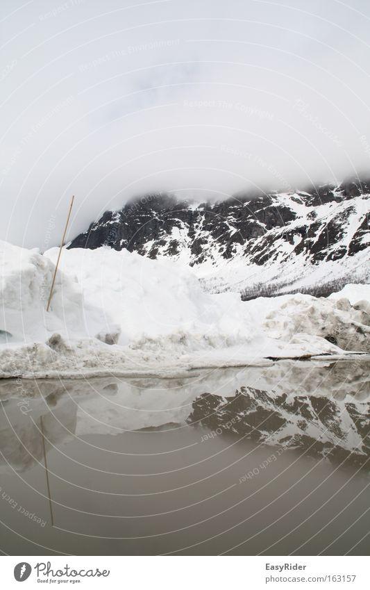 Reflexe Schnee Wasser Reflexion & Spiegelung Wolken Himmel Pfütze Berge u. Gebirge