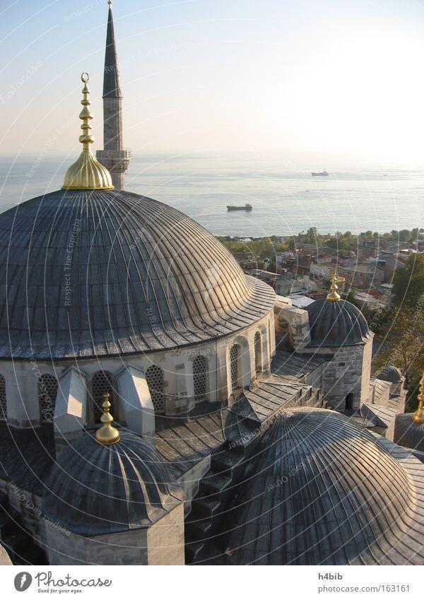 Sultan Ahmet Moschee / Blaue Moschee Istanbul Himmel Meer blau Türkei Denkmal Wahrzeichen Sonnenuntergang Kuppeldach Kultur Minarett