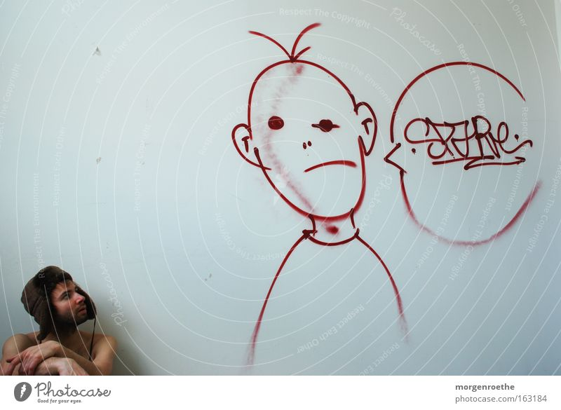 Fiktive Konversation Mann weiß rot Graffiti sprechen verfallen Kopfbedeckung fiktiv Mensch Straßenkunst