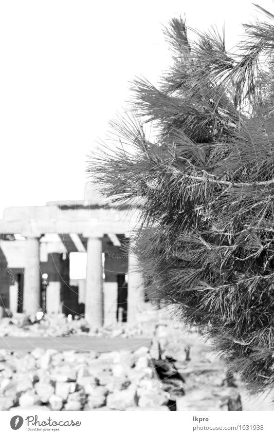 und historischer Ort Parthenon Athen Himmel Ferien & Urlaub & Reisen alt weiß schwarz gelb Architektur Religion & Glaube Gebäude Kunst grau Stein Perspektive