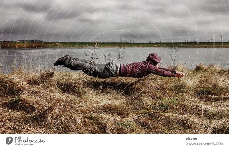 EIN GESCHENK FÜR DIE AUGEN Ferien & Urlaub & Reisen Schweben fliegen Luftverkehr springen Aktion Wiese Elbe Natur Wasser Jugendliche Funsport Wind Sturm Freude