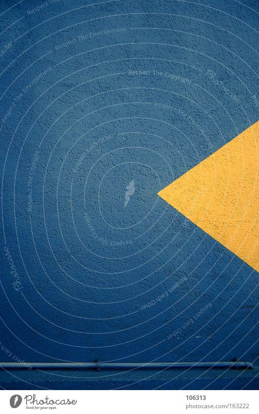 Fotonummer 118187 blau Farbe gelb Wand Schilder & Markierungen Beton Kommunizieren Spitze Symbole & Metaphern Zeichen Pfeil Röhren Richtung zurück Papier