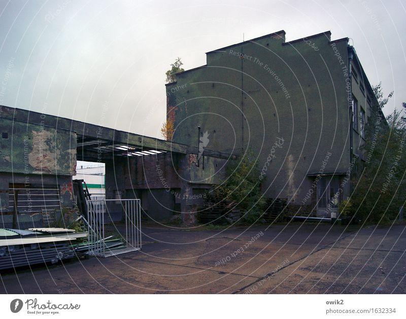 Hutfabrik Luckenwalde alt Wolken Haus dunkel Wand Gebäude Mauer Deutschland Fassade trist Sträucher Dinge bedrohlich Vergänglichkeit historisch Bauwerk