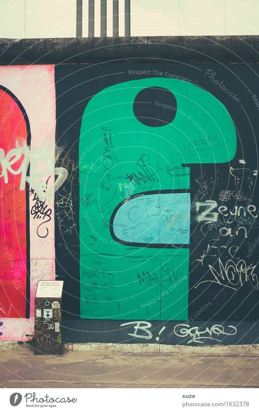 Tlön in grön grün Gesicht Auge Wand Graffiti Berlin Mauer Mund Figur Monster