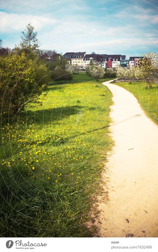 Heimweg Stadt Haus Umwelt Frühling Wege & Pfade Wiese Wachstum Idylle Sträucher Fußweg Wandel & Veränderung Ziel Sachsen Stadtrand Chemnitz