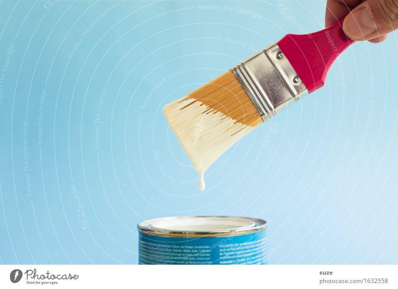 Wolkenmaler blau Farbe weiß Hand Farbstoff Arbeit & Erwerbstätigkeit Häusliches Leben Freizeit & Hobby frisch malen Wandel & Veränderung neu streichen