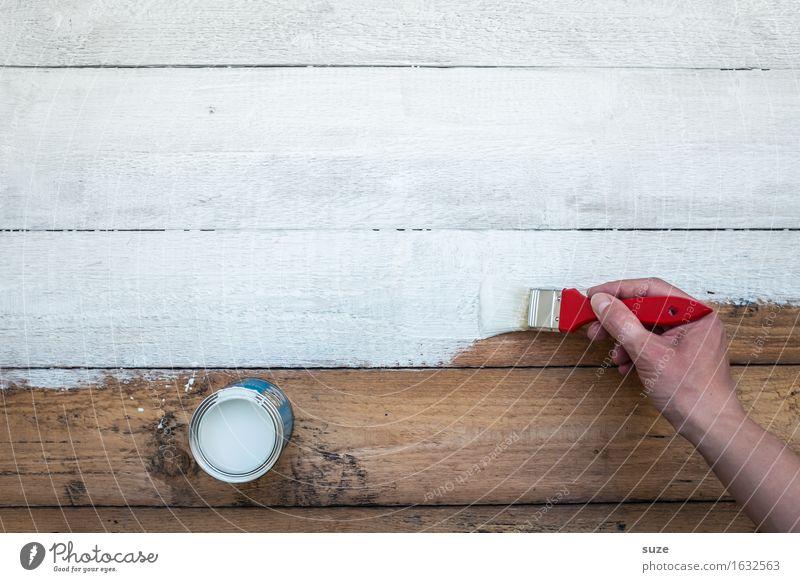 Streichholz Farbe weiß Hand Farbstoff Holz braun Arbeit & Erwerbstätigkeit Häusliches Leben Freizeit & Hobby frisch Kreativität Vergänglichkeit malen