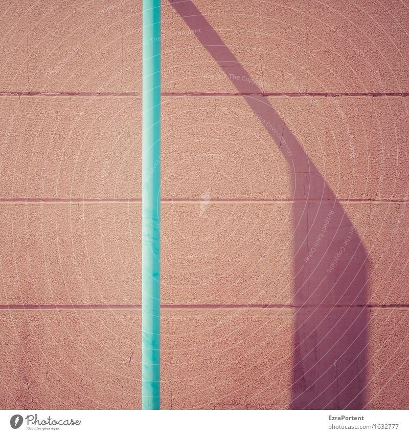 Wand rot Rohr blau Schatten Bauwerk Gebäude Mauer Fassade Stein Beton Linie türkis Design Farbe Werbung Hintergrundbild Eisenrohr Farbfoto Gedeckte Farben