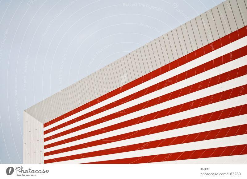 Colgate Streifen Balken Haus rot weiß Fenster Strukturen & Formen Hintergrundbild Linie hypnotisch Schatten Geometrie Ecke abstrakt Architektur Perspektive